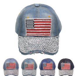 24 of American Flag Mixed Color Cap