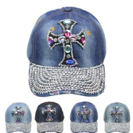 24 of Rhinestone Cross Cap