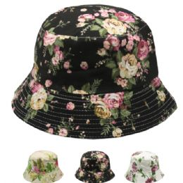24 of Women's Floral Summer Hat Assorted