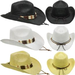 24 of Assorted Cowboy Hat With Beaded Band