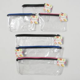 144 of Clear Zipper Pouch 2 Sizes 3 Zipper Clrs/5x12.5 & 5x7.75in Hangtag