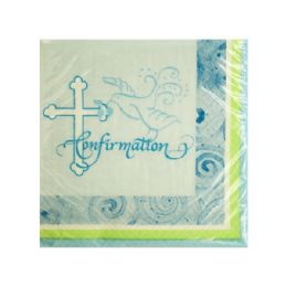 144 of Blue Faithful Dove Confirmation Beverage Napkins