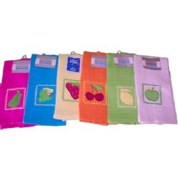 144 of 15x25 Solid Embroidery Kitchen ToweL- Assts
