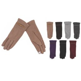 72 of Womens Fashion Fur Lined Cotton Gloves Assorted Color Touch Screen Capable
