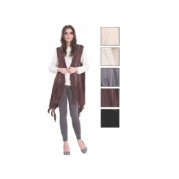 24 of Womens Fashion Solid Color Poncho With Fringes