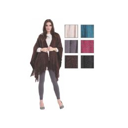 24 of Womens Fashion Assorted Color Poncho With Fringes
