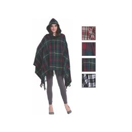 24 of Womens Fashion Assorted Color Poncho With Hoodie