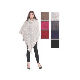 24 of Womens Fashion Solid Color Poncho Turtleneck With Fringes