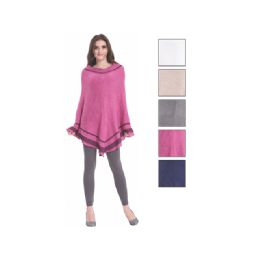 24 of Womens Fashion Two Tone Assorted Color Poncho