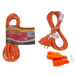 24 of 8 Feet Orange Outdoor Extension Cord