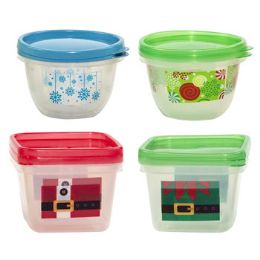 96 of Food Storage Container 2pack Square & Round With/christmas Print Red Or Green With/printed Sleeve