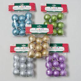 "72 of Garland 9pk 1.5""dia Glitter Ball On 60in Ribbon 6asst Colors Pbh"