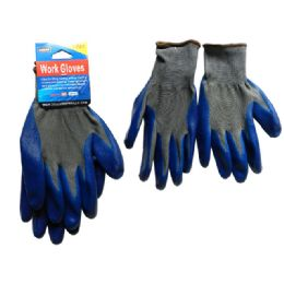 144 of 1 Pair Working Gloves With Blue Rubber