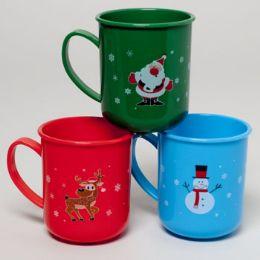 96 of Mug Plastic Christmas 3ast Designs In 12pc Tray Upc Label
