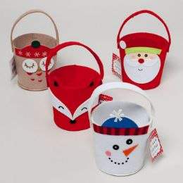 96 of Pail Felt 4ast Christmas Characters 4.25 X 4.25 X 3.5 Owl/santa/fox/snowman Upc Hangtg