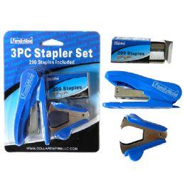 144 of 3 Piece Stapler Set W/200 Staples