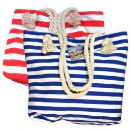 48 of Fashion Bag Large Stripes W/ Rope