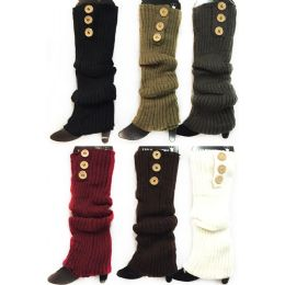 24 of Knitted Long Boot Toppers Leg Warmers 3 Buttons
