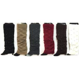 24 of Knitted Boot Toppers Leg Warmers With Rhinestones