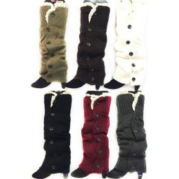 24 of Long Knitted Boottopper Leg Warmers Lace Trim