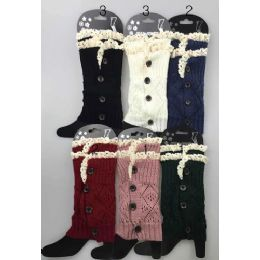 24 of Short Boot Topper Leg Warmer With Lace Trim And Buttons