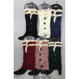 24 of Knitted Boot Topper Double Lace Top With Buttons