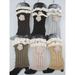 24 of Boot Topper Leg Warmer With Flower Neutral Color Ast