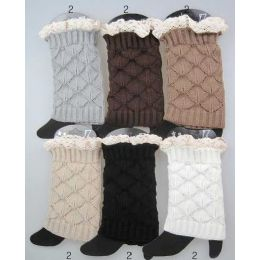 24 of Interlocking Knitted Boot Toppers Leg Warmers With Lace