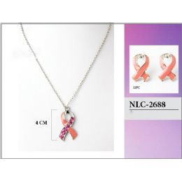 36 of Breast Cancer Pink Ribbon Necklace With Earring