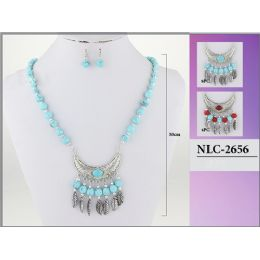 96 of Bohemian Tribal Turquoise Color Necklace With Earring