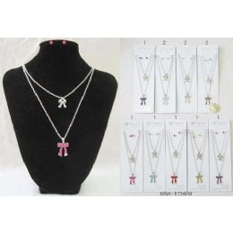 120 of Rhinestone Ribbon Necklace With Earring Set Assorted