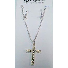 60 of Clear Rhinestone Cross Necklace/ Earring Set One Style, One Color, In Each Dozen Pack.