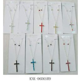120 of Cross Necklace With Earring Set Assorted Colors, One Style In Each Dozen Pack.