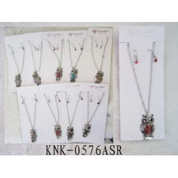 120 of Rhinestone Owl Necklace Earring Set Assorted Colors