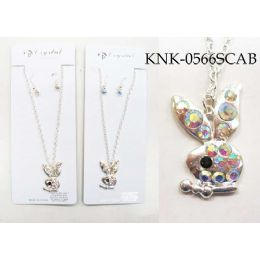 120 of Silver Colored Bunny Necklace Earring Set