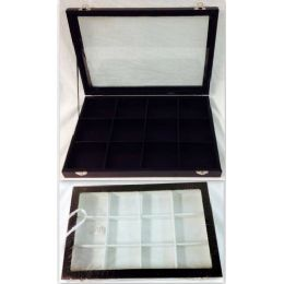 """4 of Glass Showcase Display Box Tray Chest Case Collector Two Colors, White And Black Inside. Size: 10""""*14"""", 12 Small Squares Inside."""