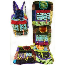 10 of Multiple Ripped Patch Tie Dye Cotton Handmade Backpacks