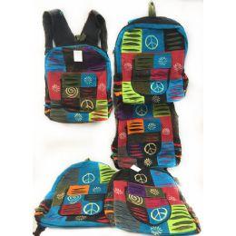 10 of Multiple Peace Sign Tie Dye Cotton Handmade Backpacks