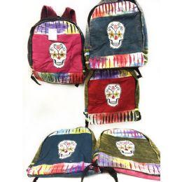 10 of Skull Design Tie Dye Cotton Handmade Backpacks