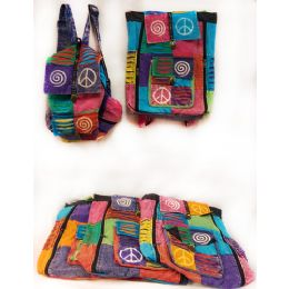 10 of Tie Dye Nepal Cotton Backpacks Multi Color Peace Patch