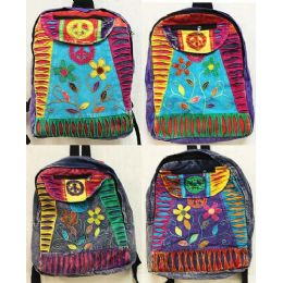 10 of Peace Sign Flower Tie Dye Cotton Handmade Backpacks