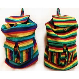 10 of Tie Dye Nepal Cotton Backpacks Multi Color Two Pockets
