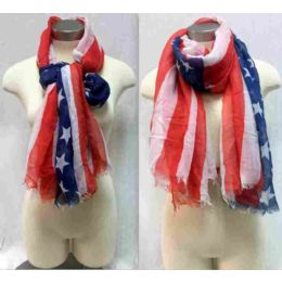 "24 of American Flag Scarves One Size 72"", 100% Acrylic"