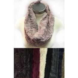 24 of Faux Fur Infinity Circle Scarves Rose Pattern Assorted