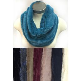 24 of Faux Fur Infinity Circle Scarves Solid Color Assorted