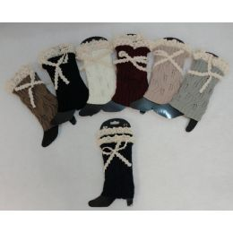 12 of Knitted Boot Cuffs [antique Lace Bow]