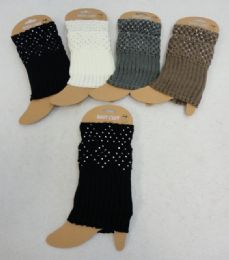 12 of Knitted Boot Cuffs [rhinestones]