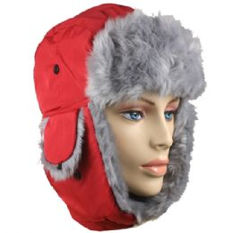 36 of Red Winter Pilot Hat With Faux Fur Lining And Strap