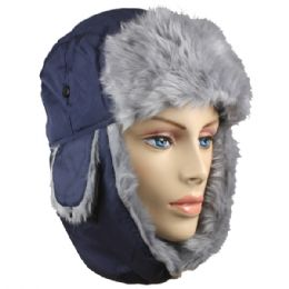36 of Blue Winter Pilot Hat With Faux Fur Lining And Strap