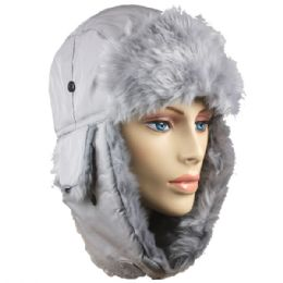 36 of Grey Winter Pilot Hat With Faux Fur Lining And Strap